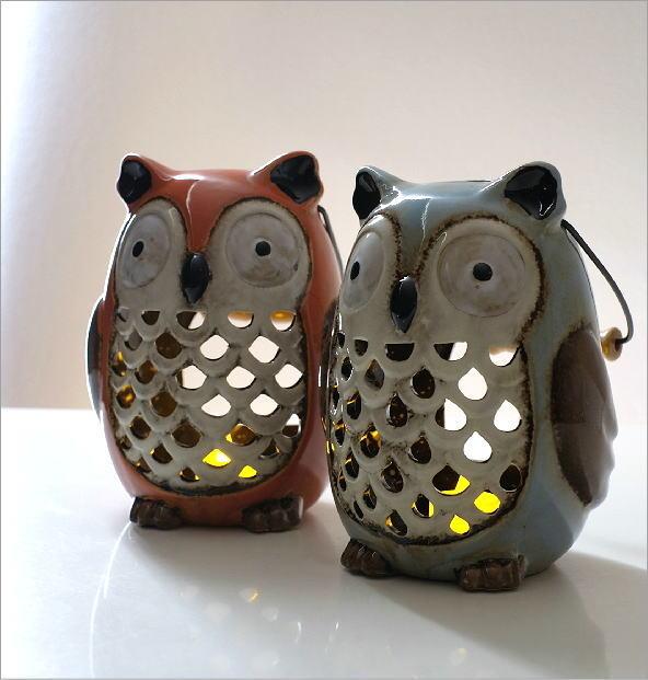LED付き陶器のランタン オウル2カラー(1)