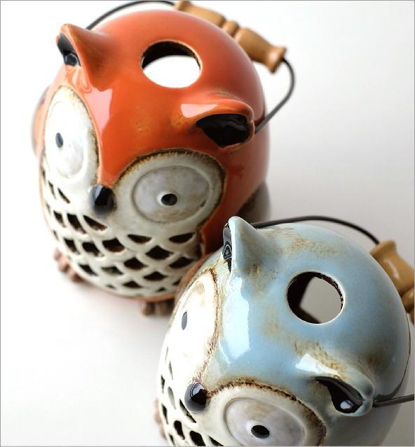 LED付き陶器のランタン オウル2カラー(2)