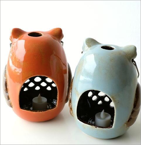 LED付き陶器のランタン オウル2カラー(3)