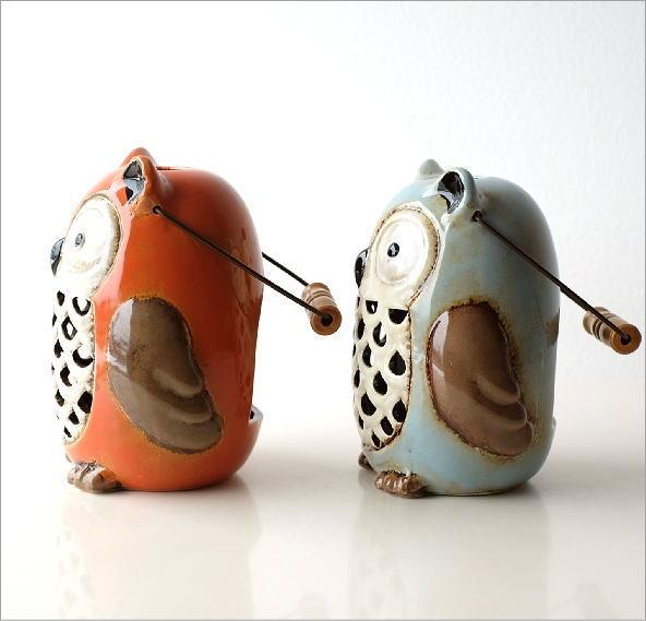 LED付き陶器のランタン オウル2カラー(4)