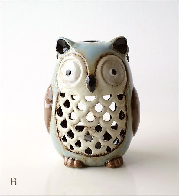 LED付き陶器のランタン オウル2カラー(6)