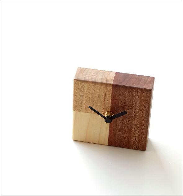 天然木の置き時計 モザイクA(1)