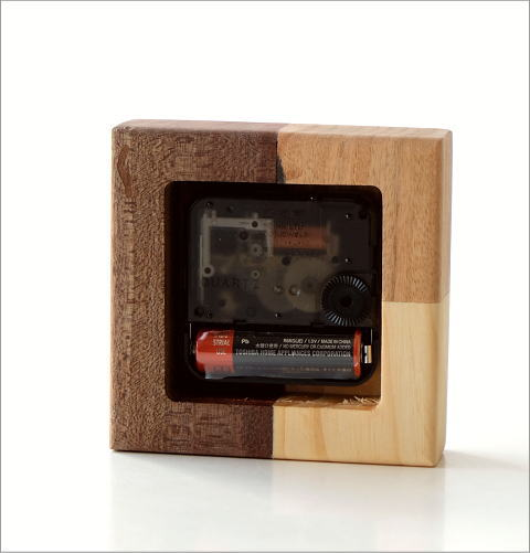 天然木の置き時計 モザイクA(3)