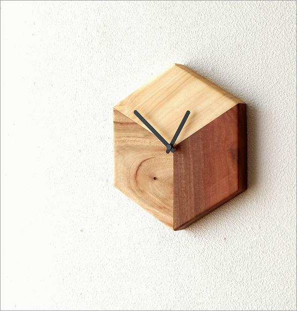 天然木の掛け時計 モザイク(1)