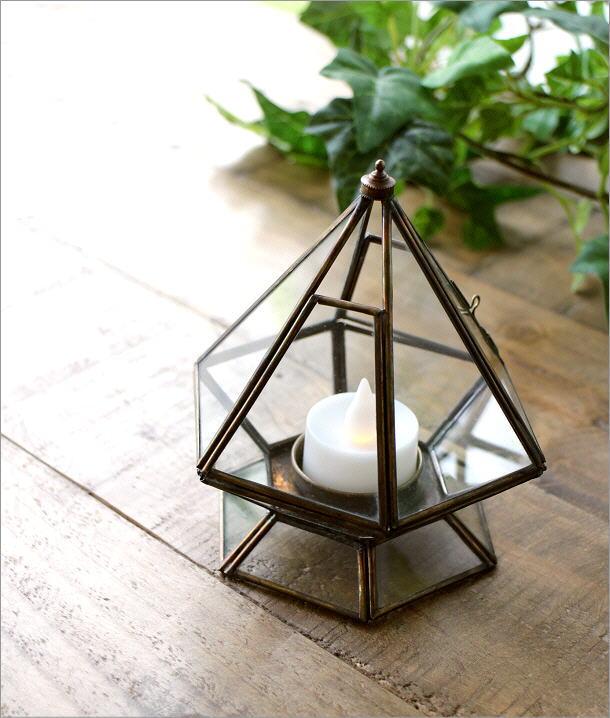 LED付きブラスとガラスのキャンドルスタンド(1)