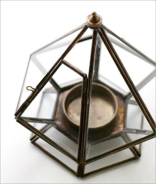 LED付きブラスとガラスのキャンドルスタンド<b></b>(2)