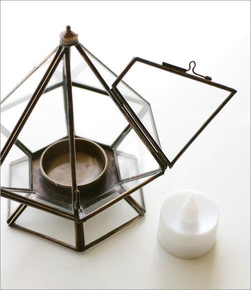 LED付きブラスとガラスのキャンドルスタンド(3)
