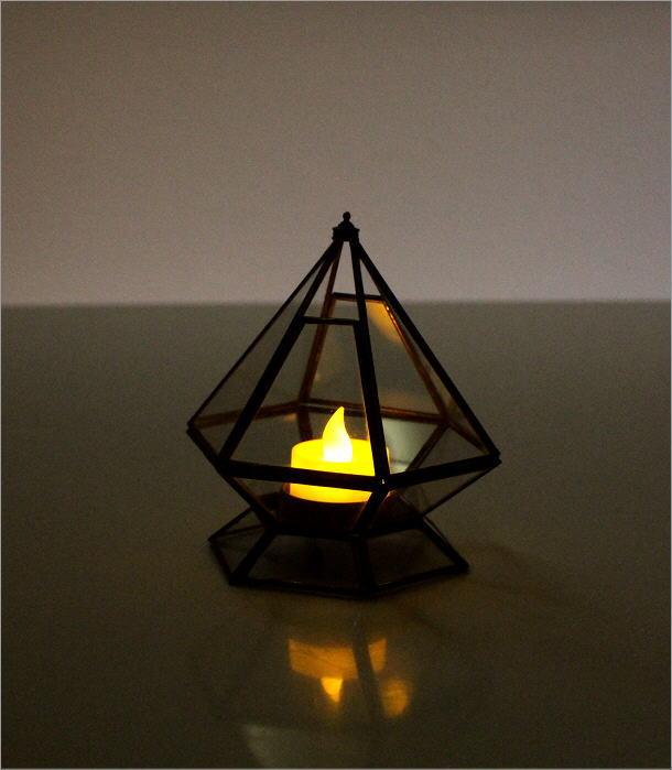 LED付きブラスとガラスのキャンドルスタンド(4)