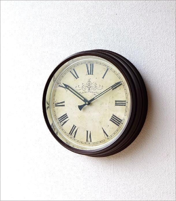 壁掛け時計 クラシックなスチールの掛け時計ナチュラル(1)