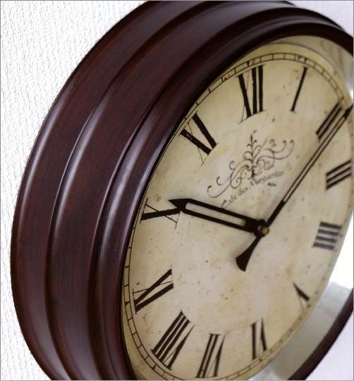 壁掛け時計 クラシックなスチールの掛け時計ナチュラル(3)