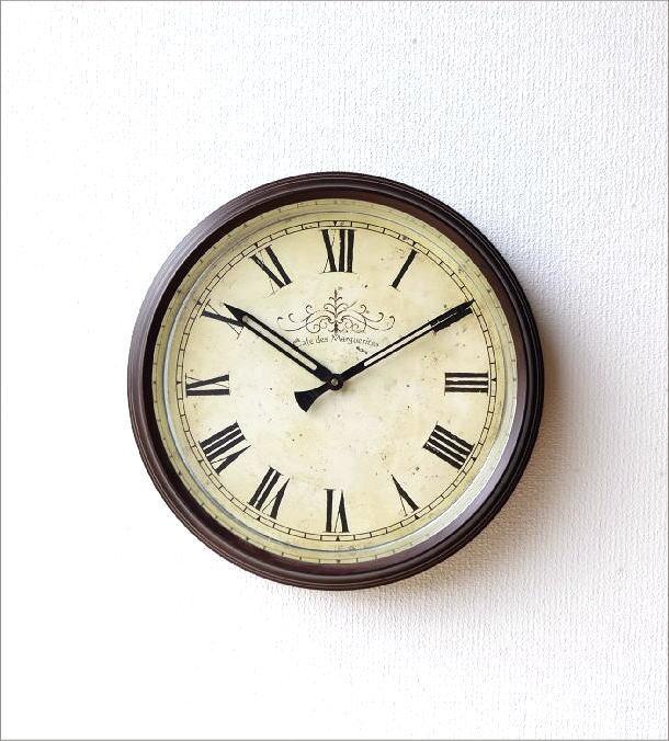 壁掛け時計 クラシックなスチールの掛け時計ナチュラル(5)