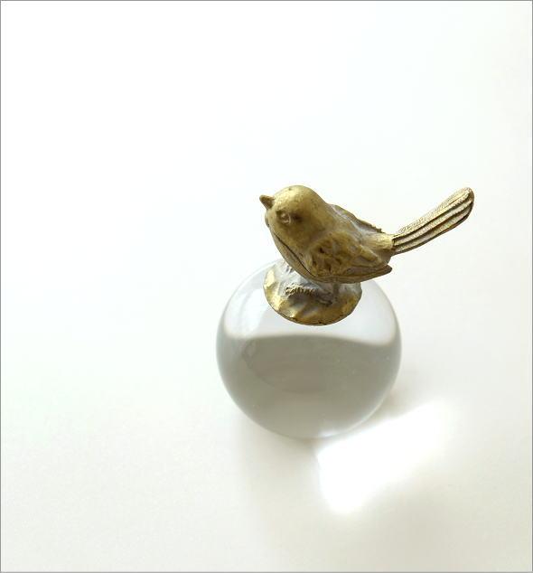 小鳥のガラスボールウェイト(1)