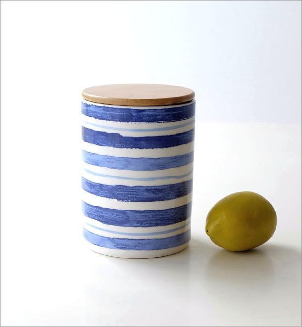 フタ付 陶器のキャニスター C(1)