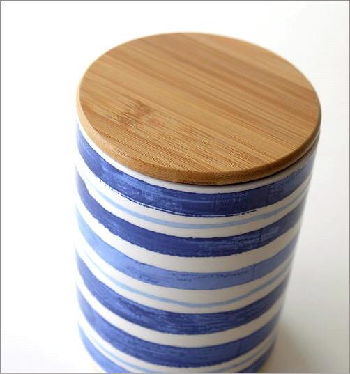 フタ付 陶器のキャニスター C(2)