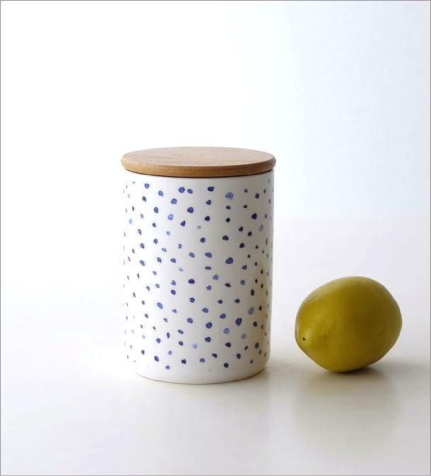 フタ付 陶器のキャニスター B(1)