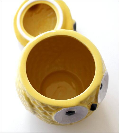 陶器のフクロウ小物入れ 2カラー(2)