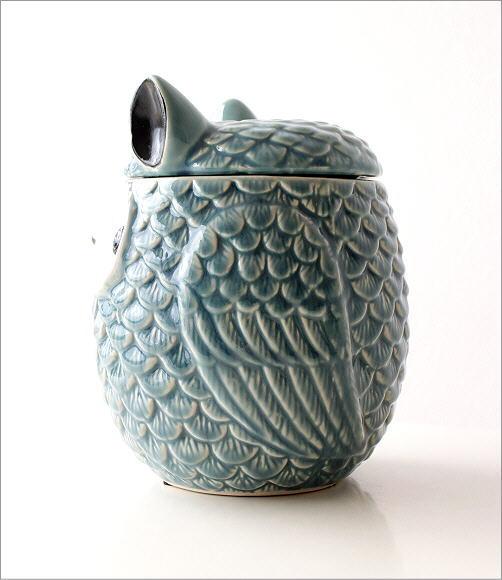 陶器のフクロウ小物入れ 2カラー(3)