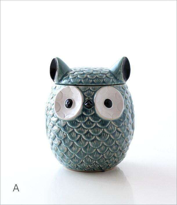 陶器のフクロウ小物入れ 2カラー(4)