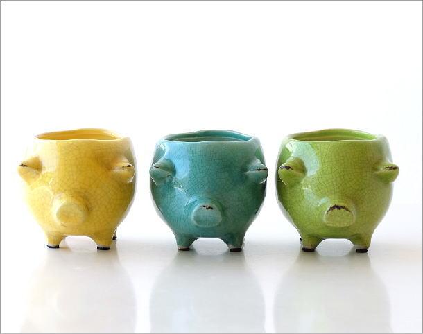陶器のブタさんミニプランター 3カラー(2)