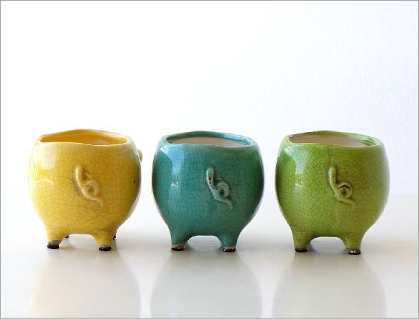 陶器のブタさんミニプランター 3カラー(3)