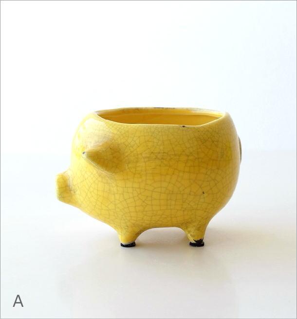 陶器のブタさんミニプランター 3カラー(5)