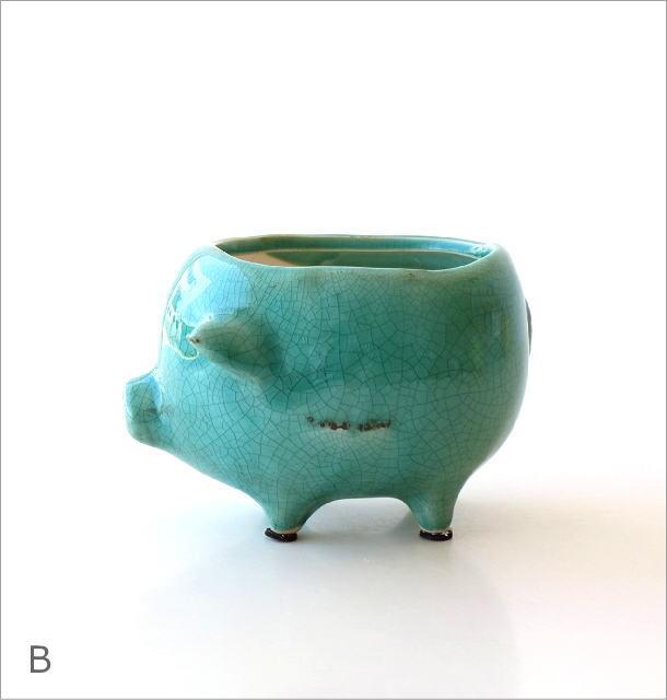 陶器のブタさんミニプランター 3カラー(6)