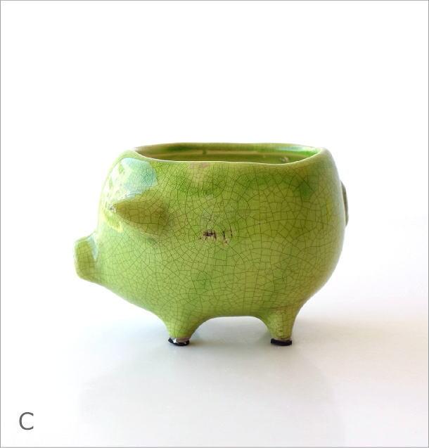 陶器のブタさんミニプランター 3カラー(7)