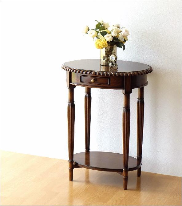 マホガニーオーバルテーブル 1ドロアー(1)