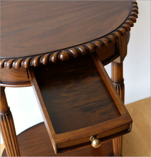 マホガニーオーバルテーブル 1ドロアー(4)