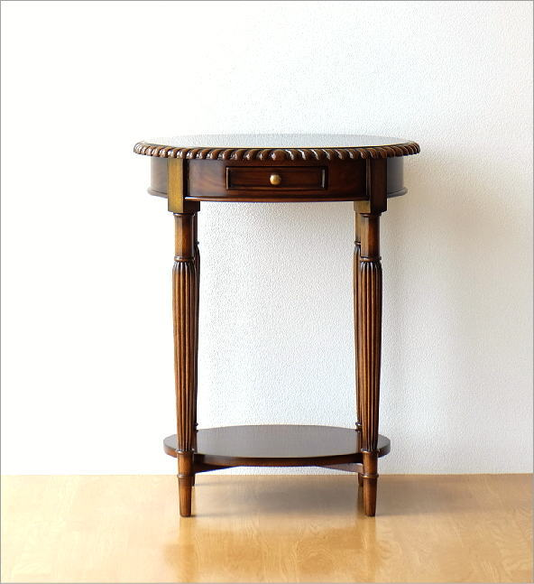 マホガニーオーバルテーブル 1ドロアー(7)