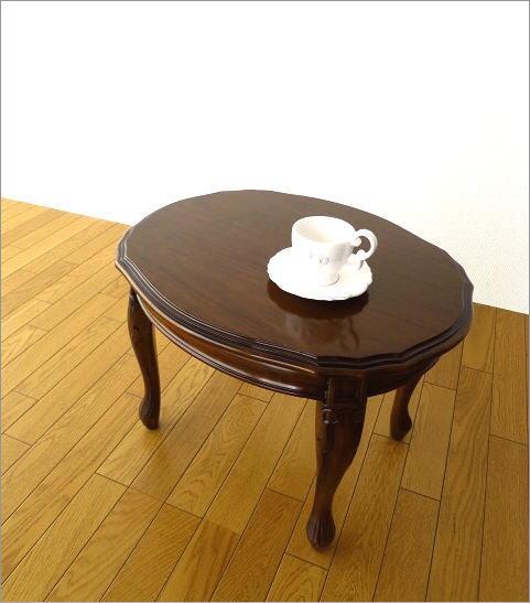 マホガニーオーバルローテーブル 猫脚(1)