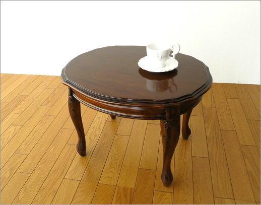 マホガニーオーバルローテーブル 猫脚(5)