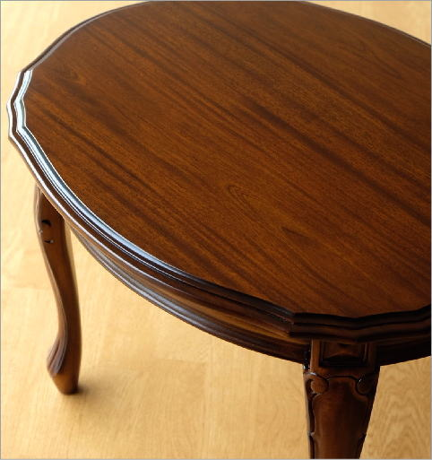マホガニーオーバルローテーブル 猫脚(2)