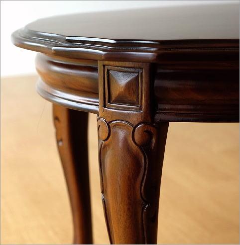 マホガニーオーバルローテーブル 猫脚(3)