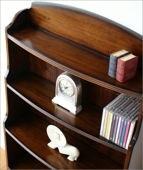 飾り棚 ディスプレイラック マホガニーオープン本棚(2)