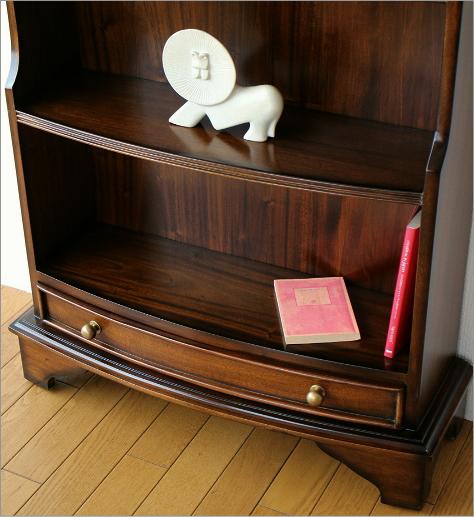 スリム 薄型 マホガニーオープン本棚(3)