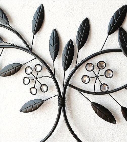 アイアンの壁飾り ビーズメタルリーフ(2)