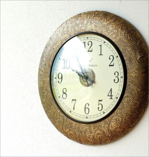真鍮飾りのウォールクロック(1)