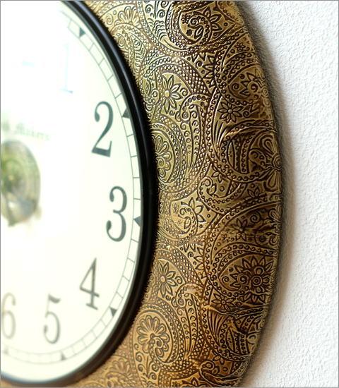 真鍮飾りのウォールクロック(3)