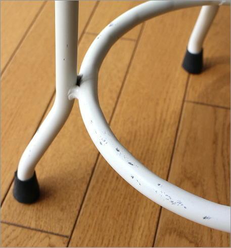 ホワイトアイアンとウッドのスツール M(3)