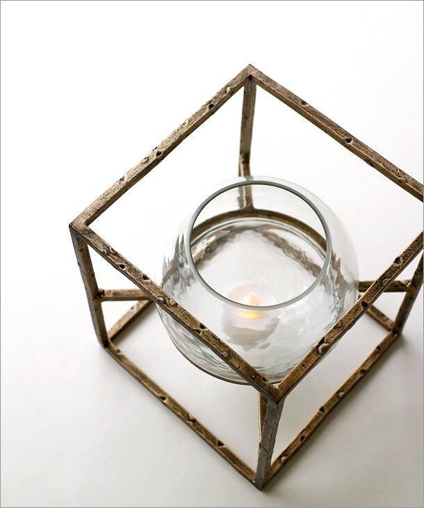 アイアンとガラスのキャンドルホルダー スクエア(2)