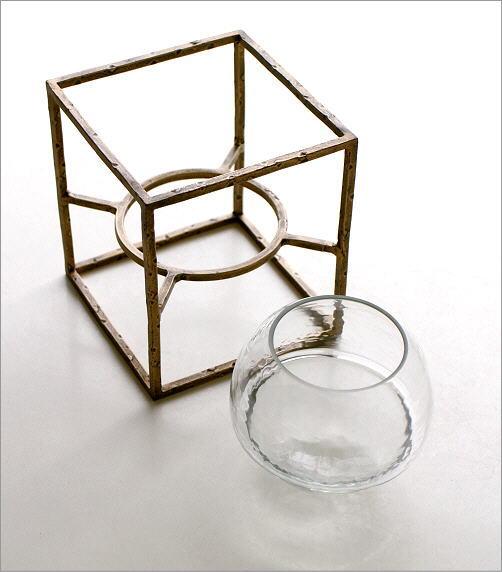 アイアンとガラスのキャンドルホルダー スクエア(3)