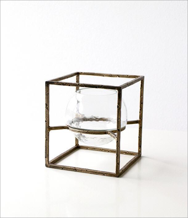 アイアンとガラスのキャンドルホルダー スクエア(6)