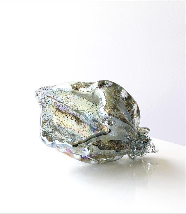 ガラスのオブジェ シェルブルー(5)