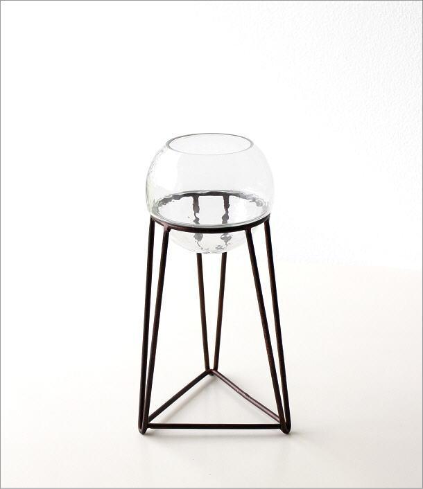 アイアンとガラスのキャンドルホルダー トライアングル(6)