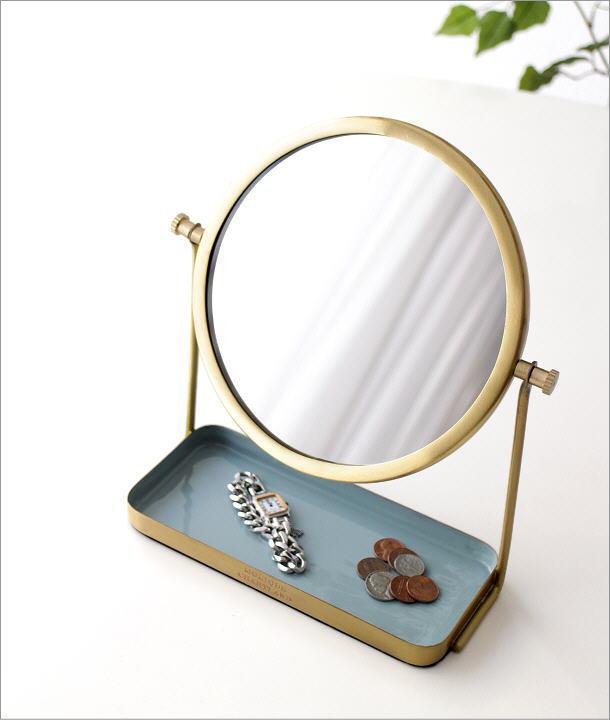 真鍮とエナメルのスタンドミラー(1)
