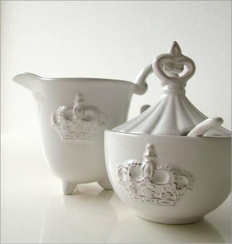 陶器のシュガー&クリーマー(1)