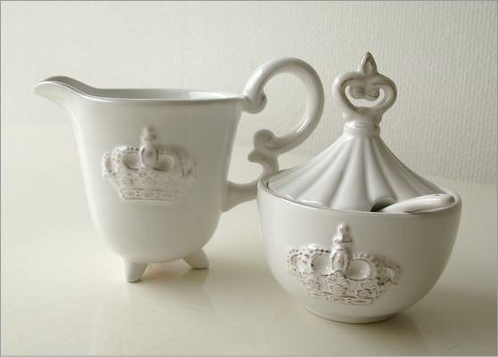 陶器のシュガー&クリーマー(4)