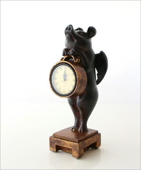 置時計 天使のブタさんクロック