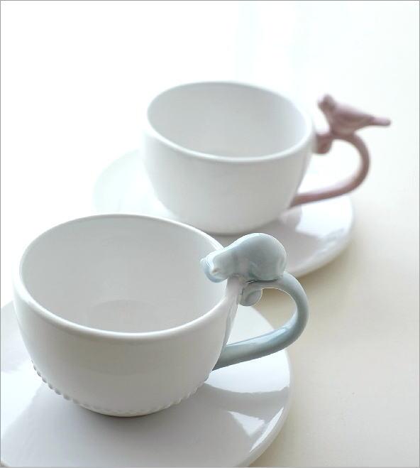 ホワイトカップ&ソーサー キャット&バード(1)